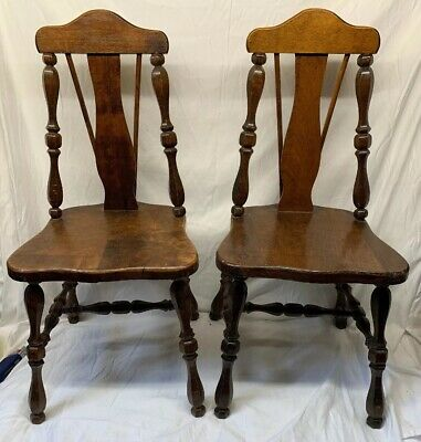 "Set of 2 - 26"" Antique Mahogany Children's Chairs matching Set RARE"