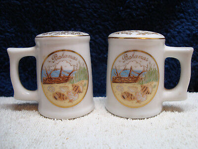Souvenir, Bahamas white mug shape porcelain salt & pepper shaker set.