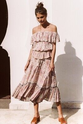 cbb95d220 SPELL & THE Gypsy Free People Zahara Rosewater Pink Floral Midi ...