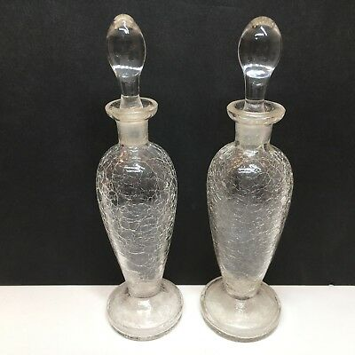 Pair of  Czechoslovakia Vintage Crackled Clear Glass Perfume Bottles Stoppers