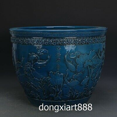 China Blue Glaze Porcelain pottery Lotus Flower Fish Vase Pot Jar Jug crock vat