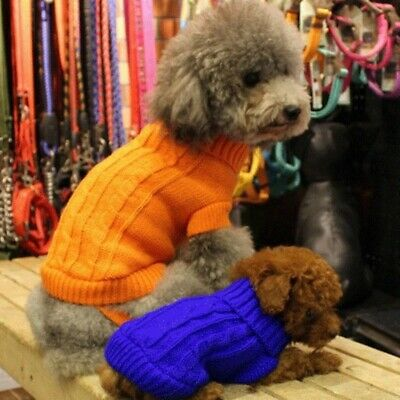 Pet Dog Puppy Winter Warm Sweater Jumper Clothes Cat Kitten Knitted Coat Jacket