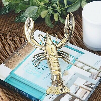Clawed Lobster Solid Brass Large 18cm Hamptons Coastal Home Decor