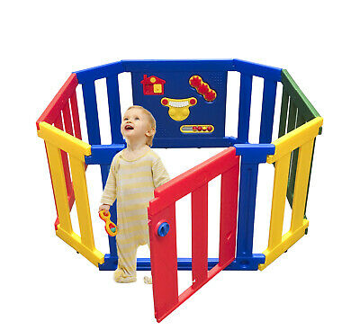 Baby 12 Panel Plastic Baby Playpen interactive Toddler Gate Safety Lock Extendab