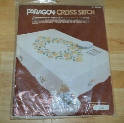 Vintage Paragon Chrysanthemums Tablecloth Stamped To Embroider 51x70 Kit #0800