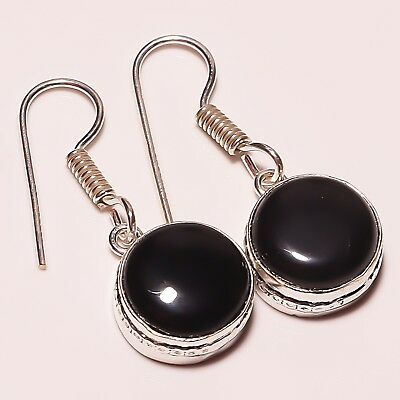 Gorgeous ! Balck Onyx Gemstone Silver Plated Handmade Earring 1.25""