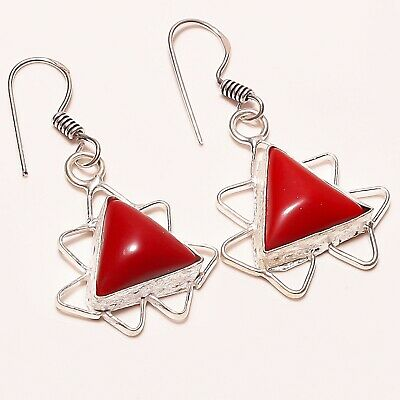 """Awesome ! Spongy Coral Gemstone Silver Plated Handmade Jewelry Earring 1.25"""""""