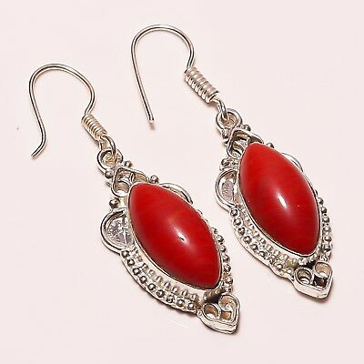 """Awesome ! Spongy REd  Coral Gemstone Silver Plated Handmade Earring 1.75"""""""