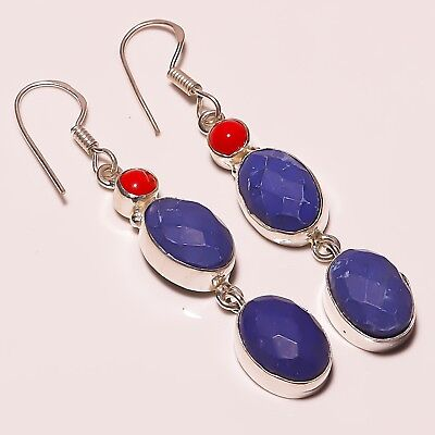 """Awesome Faceted Lapis Lazuli Spongy Coral Silver Plated Handmade Earring 2.5"""""""