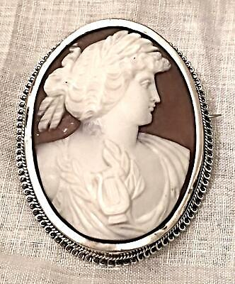 Antique Shell Cameo Sterling Silver Victorian Lady Large Greek Roman Classic Vtg