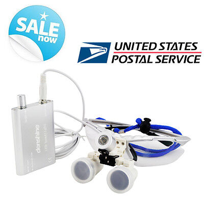 silver Dental Medical Binocular Loupes 3.5X420mm glass LED Head Light Lamp-USA