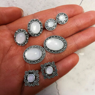 4Pairs Bohemian Rhinestone Crystal Opal Stud Earrings Women Charm Party Jewelry