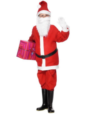 Santa Claus Xmas Father Christmas Fancy Dress Costume Red Suit With Hat & Belt