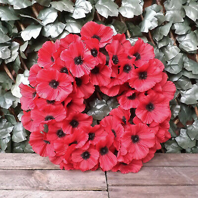 """Round Red Poppy Artificial Flower Remembrance Floral Wreath 16"""" 40 Silk Heads"""