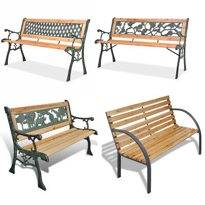 Wooden Garden Bench 3 Seater Steel Wooden Outdoor Patio Seating Furniture Seat