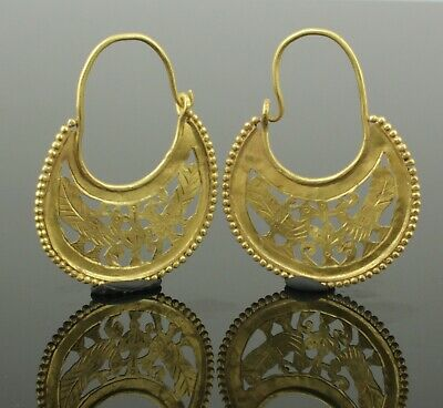BEAUTIFUL PAIR OF ANCIENT BYZANTINE EARRINGS CIRCA - 9th Century AD  (03)