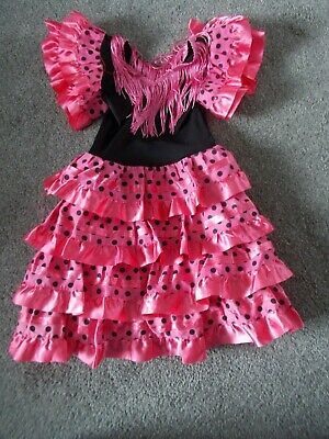 5ff7238da871 GIRLS AUTHENTIC SPANISH FLAMENCO FANCY DRESS OUTFIT AGE 7-9 YEARS ...