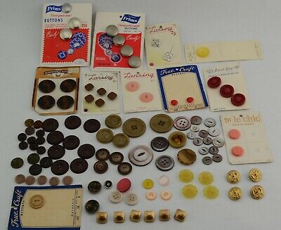 Mixed Vintage Button Lot, Loose and some on cards, 4 Eagle Buttons Gold Tone