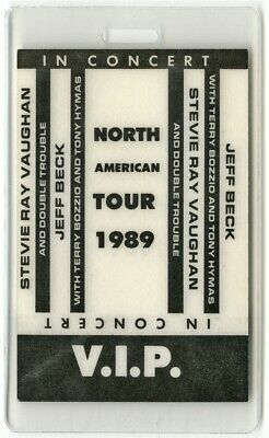 Stevie Ray Vaughan authentic 1989 Laminate Backstage Pass In Step Tour Jeff Beck