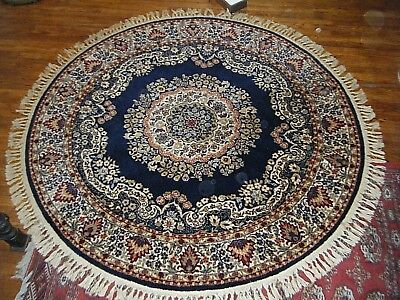 Vtg Wool Classic 7ft Persian Round Blue Medallion Belgium Area Rug Carpet Sears