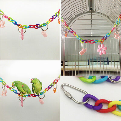 Colorful Bird Toy Parrot Swing Cage Toys Parakeet Cockatiel Budgie Lovebird PJ