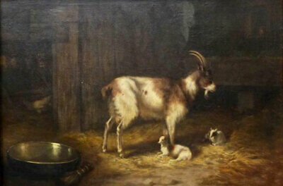 ZOPT975 the goat with her two childrens paint hand oil painting art on CANVAS