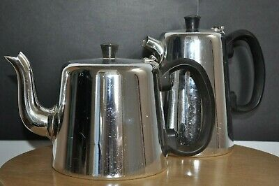 """Vintage """"Towerbrite"""" Stainless Teapot and Matching Hot Water Pot"""