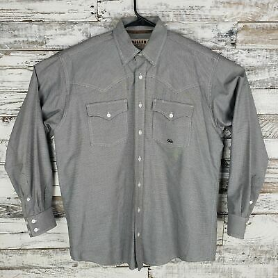 0af8d303 Miller Ranch Mens Western Button Down Shirt Black Hounds Tooth Size Medium