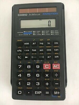 Casio FX-260 Solar Powered Fraction Scientific Calculator With Covers Works