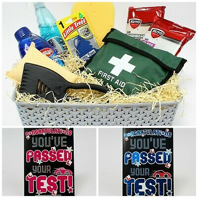 Congratulations Gift Basket Set. Pass Driving Test  & Greeting Card. New Driver