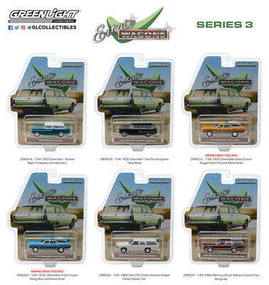 GREENLIGHT ESTATE WAGONS Series 1 Set Of 6 Cars Assortment 2018 1/64
