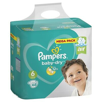 Mega Pack 68 Couches Pampers baby-dry Taille 6 de 13 à 18 kg