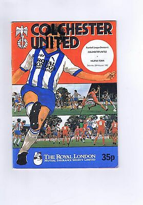 Colchester United V Halifax Town Football Programme/Magazine 28th August 1982