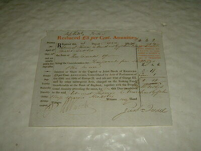 Reduced £3 Per Cent Annuities 1834 Issued To Admiral Le Marchand Gosselin Nelson