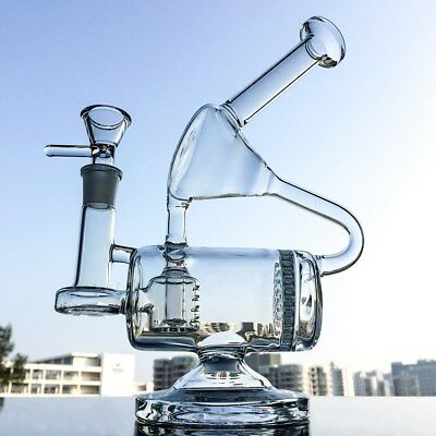 """9"""" Clear Glass Bong Recycler Water Pipe Honeycomb Inline Perc Unique Hookahs"""