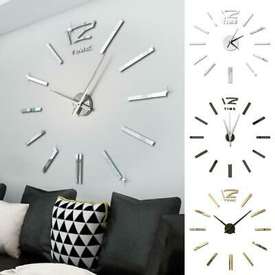 DIY Large Number Wall Clock 3D Mirror Sticker Modern Home Office Decor Art Decal