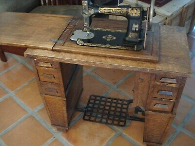 Antique Vintage White Rotary Treadle Sewing Machine & Mission Cabinet