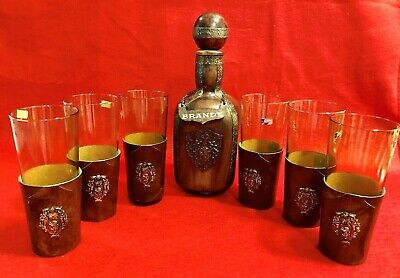 Vintage Leather Covered Bar Set Glass Decanter and 6 Hiball Glasses, Italy