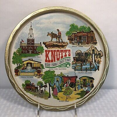 Knotts Berry Farm Souvenir Tray 70s Ghost Town Round Metal Gold Vintage Vacation