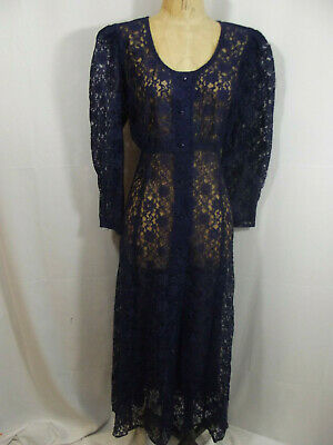 Vintage 80s Molly Malloy for All That Jazz Party Dress Blue Lace Maxi Dress 12