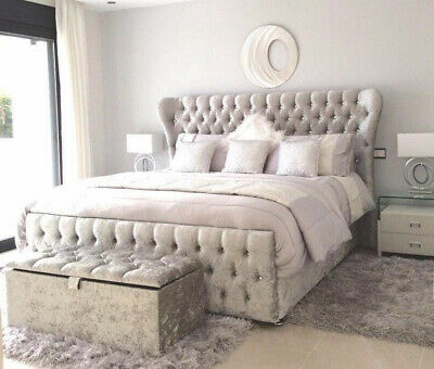 LUXURY Butterfly Wingback bed - SLEIGH Beds - Chesterfield - Crushed Velvet
