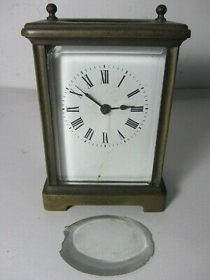 Antique Brass French Carriage Mantle Shelf Clock WORKING
