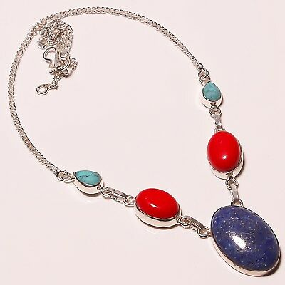 """Awesome Lapis Lazuli Coral Silver Plated Handmade Necklace 17-18""""(n-1142)"""
