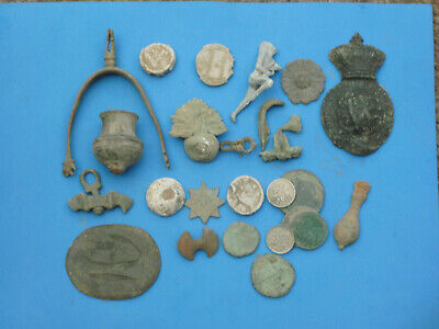 Old Metal Detecting Finds Roman Coins Medieval Buckles Brooches Spur Bag Seals
