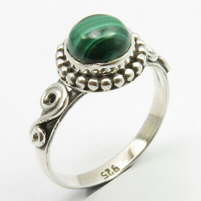 Sterling Silver Latest Style Malachite Oxidized Ring Size 6.5