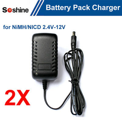2pcs Universal 2.4V-12V LED Li-ion NiCd Battery Pack Charger Smart Battery Packs