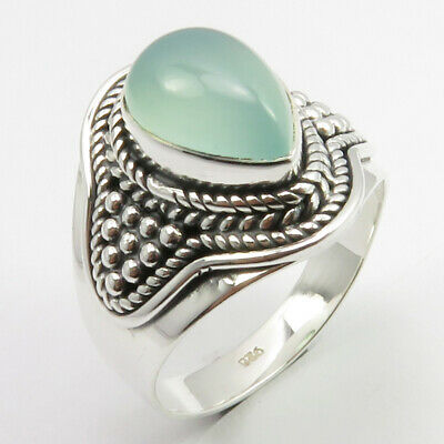 Art Jewelry Natural Aqua Chalcedony Antique Look Ring Size 9 Sterling Silver