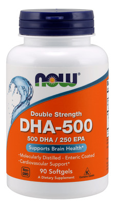 NOW FOODS DHA-500 Double Strength 500 DHA / 250 EPA 180 Softgels, SHIPPING WORLD