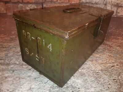 Vintage Industrial Green Metal Army Military Ammunition Engineers Tool Box Trunk