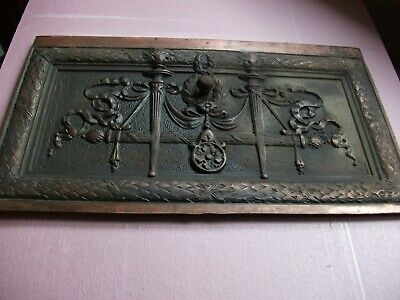 Gorgeous ++ Cast Iron PLATED Fireplace Architectural 12x20 aprx + Copper Hints